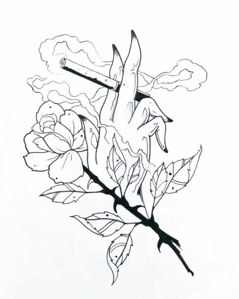 西安幸福时光做网络的麹先生玫瑰手指香烟纹身手稿