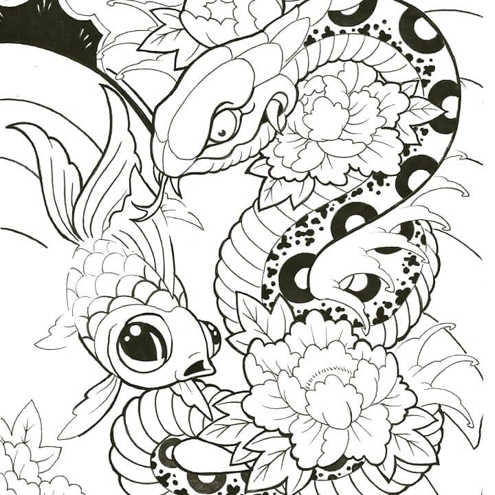 鞠先生金鱼蛇牡丹纹身手稿