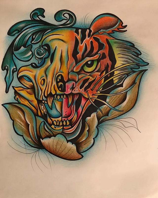 做广告创意设计师的鄂先生虎头纹身手稿图片